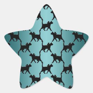 Motif mignon de silhouette de chat noir sur Teal Autocollant En Étoile