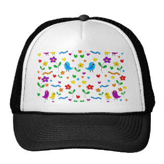 Motif mignon d'oiseaux et de fleurs casquette