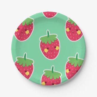 Motif mignon lunatique de caractère de fraises assiettes en papier