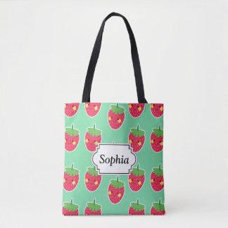 Motif mignon lunatique de caractère de fraises sac