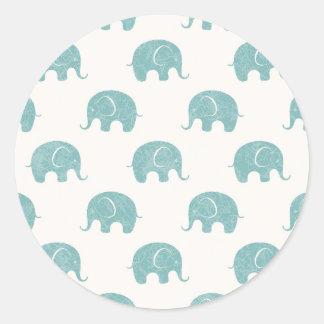 Motif mignon turquoise d'éléphant sticker rond