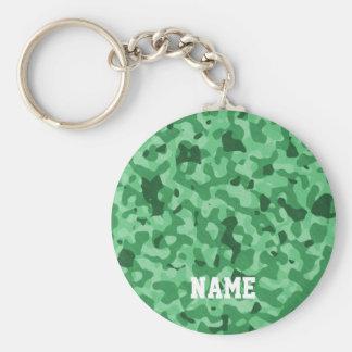 Motif militaire vert personnalisé du nom | Camo Porte-clé Rond