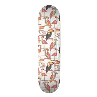 Motif moderne avec les oiseaux tropicaux mini skateboard 18,4 cm