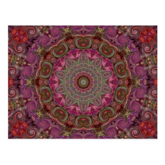 Motif moderne d'art de mandala de kaléidoscope carte postale