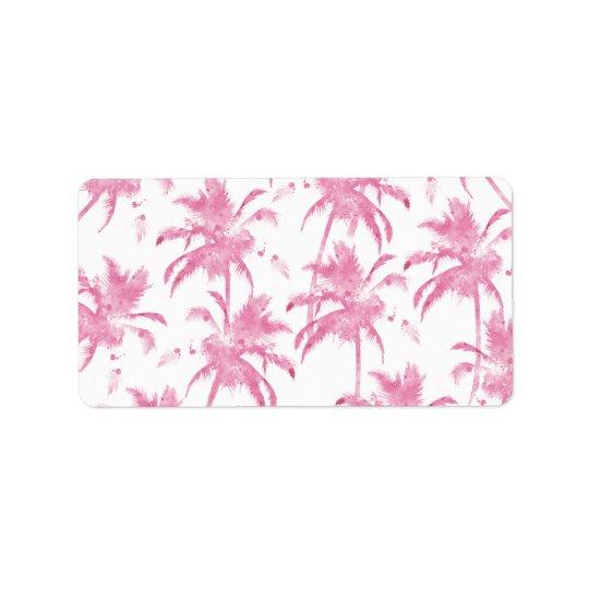 Motif moderne de palmier d'aquarelle rose étiquette d'adresse