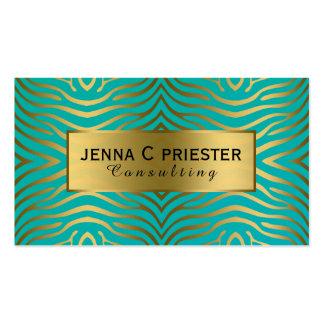 Motif moderne de rayures de zèbre de turquoise et carte de visite standard