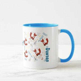 Motif moderne personnalisé de région boisée de Fox Mug