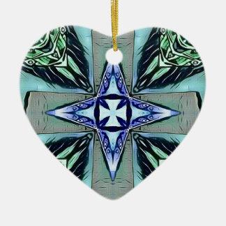 Motif moderne pourpre turquoise populaire de croix ornement cœur en céramique