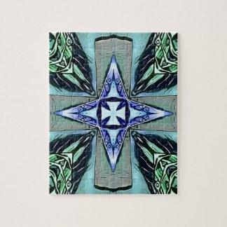 Motif moderne pourpre turquoise populaire de croix puzzle