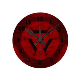Motif moderne rouge horloge ronde
