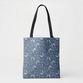 Motif monochromatique Bleu-Gris de feuilles et de Tote Bag