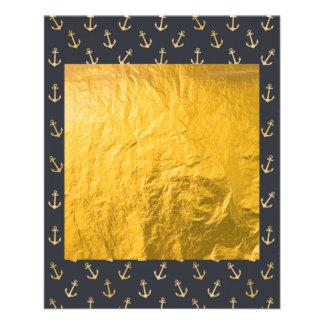 Motif multi d'ancre d'or sur le modèle noir, chic, prospectus 11,4 cm x 14,2 cm