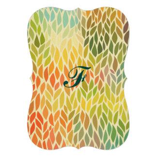 motif multi de feuille de couleur, art à la mode carton d'invitation  12,7 cm x 17,78 cm