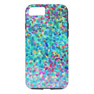 Motif multicolore bleu coloré d'art abstrait coque iPhone 7