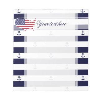 Motif nautique américain de rayures du drapeau | bloc-note
