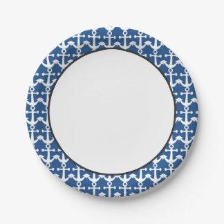 Motif nautique | blanc et bleu assiettes en papier