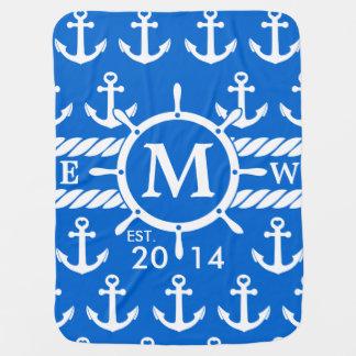 Motif nautique bleu d'ancres de monogramme couvertures pour bébé