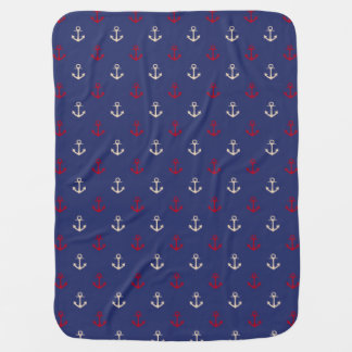 Motif nautique d'ancres de rouge et de bleu marine couverture de bébé