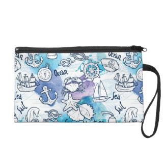 Motif nautique d'aquarelles sac à main avec dragonne