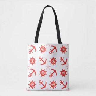 Motif nautique rouge sac