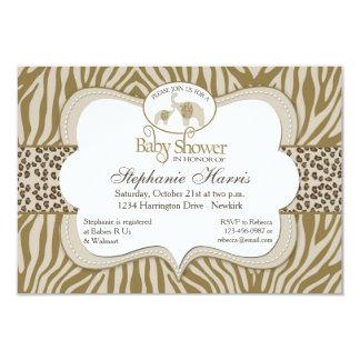 Motif neutre de léopard et de zèbre de baby shower carton d'invitation 8,89 cm x 12,70 cm