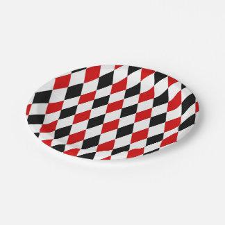 Motif noir blanc rouge de diamant de harlequin assiettes en papier