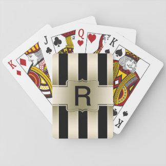 Motif noir chic fait sur commande de rayures d'or cartes à jouer
