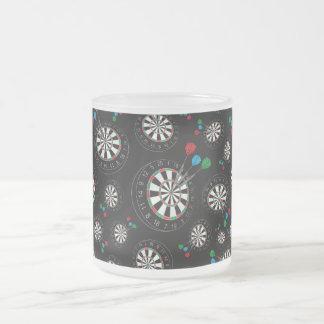 Motif noir de cible mug en verre givré