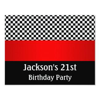 Motif noir de fête d'anniversaire et blanc rouge carton d'invitation 10,79 cm x 13,97 cm