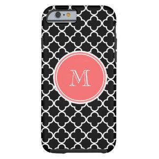 Motif noir de Quatrefoil, monogramme de corail Coque Tough iPhone 6