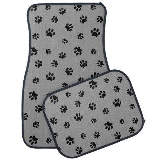 Motif noir d'empreintes de pattes tapis de voiture
