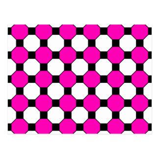 Motif noir d'hexagones de carrés blancs de roses cartes postales