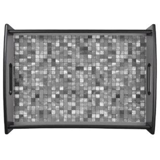 Motif noir et blanc de carreau de céramique de plateau de service