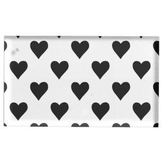 Motif noir et blanc de coeur porte-cartes de  table