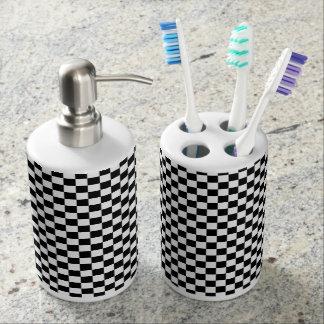 Motif noir et blanc de contrôleur set de salle de bain