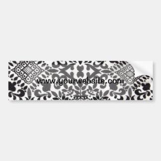 Motif noir et blanc de damassé autocollant de voiture