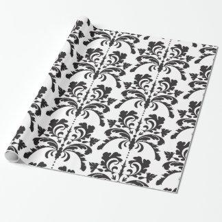 Motif noir et blanc de damassé papiers cadeaux noël