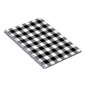 Motif noir et blanc de guingan carnet à spirale
