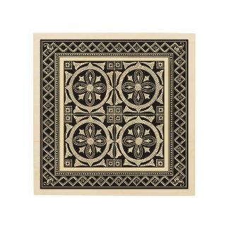 Motif noir et blanc de mandala par le studio de impression sur bois