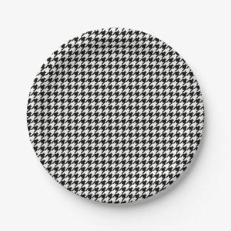 Motif noir et blanc de pied-de-poule assiettes en papier