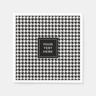 Motif noir et blanc de pied-de-poule serviette jetable