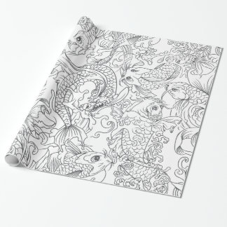 Motif noir et blanc de poissons de Koi de Japonais Papiers Cadeaux