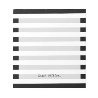 Motif noir et blanc de rayure blocs notes