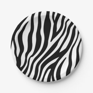 Motif noir et blanc de rayures d'impression de assiettes en papier