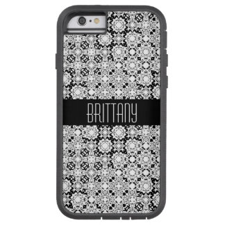 Motif noir et blanc de style de dentelle d'art de coque tough xtreme iPhone 6