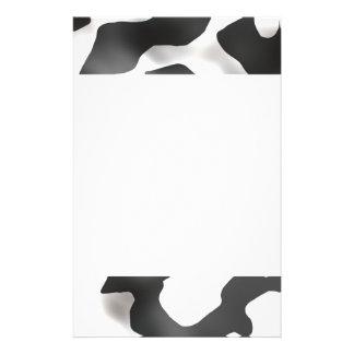 Motif noir et blanc de vache à pays papier à lettre personnalisable