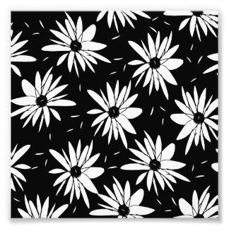 Motif noir et blanc floral chic moderne de photographes