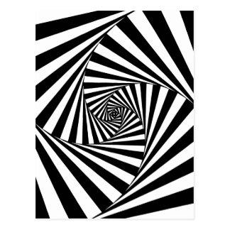 Motif noir et blanc hypnotique carte postale