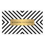 Motif noir et blanc Luxe de mod avec la barre d'or Carte De Visite Standard