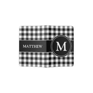 Motif noir et blanc Mongram de contrôles de tartan Protège-passeports